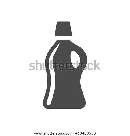 Detergent bottle icon in black and white grey single color. Laundry perfume softener soap - stock vector