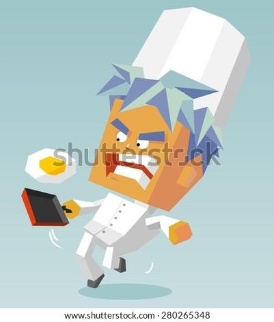 determined cook egg. vector illustration - stock vector