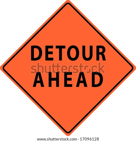 Detour Ahead Street Sign - stock vector