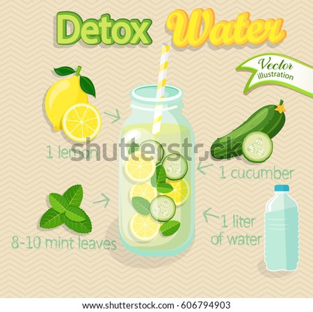 Detox cocktail with cucumber, lemon, water, mint. Vector illustration for diet menu, cafe and restaurant menu. Fresh smoothies, detox, fruit cocktail for healthy life.