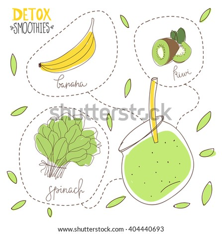Detox diet. Illustration of green detox smoothie recipe with ingredients.Hand drawn vector illustration of green detox smoothies. Kiwi, banana, spinach mix. Smoothies for fitness diet.