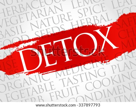 Detox word cloud, health concept