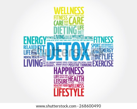DETOX word cloud, health cross concept - stock vector