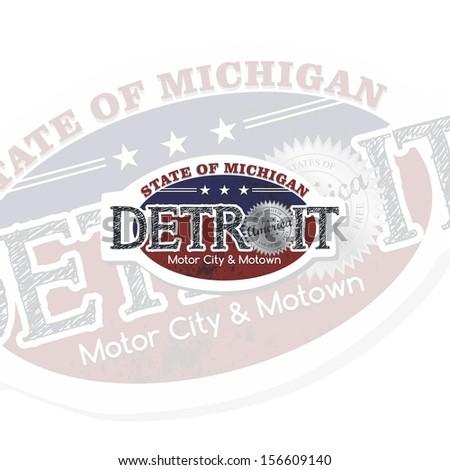 detroit america state label - stock vector