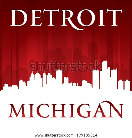 Detroit Michigan city skyline silhouette. Vector illustration - stock vector