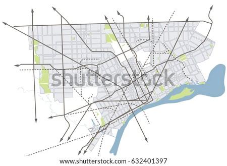 Detroit Map Stock Images RoyaltyFree Images Vectors Shutterstock - Detroit usa map