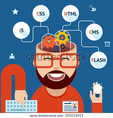 Developer of Web and mobile applications. Head with gears and programming technological clouds - stock vector