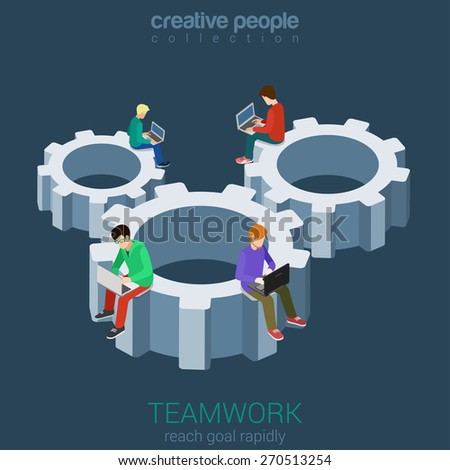 Developers programmer coder teamwork cogwheel flat 3d web isometric infographic vector. Micro young men staff team members sitting on huge gear connection. Creative people collection. - stock vector