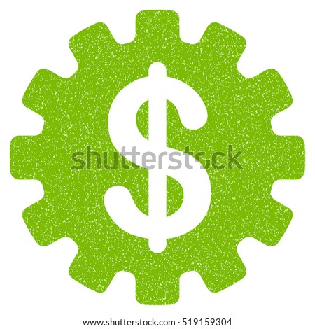 Development Cost grainy textured icon for overlay watermark stamps. Flat symbol with dirty texture. Dotted vector eco green ink rubber seal stamp with grunge design on a white background.