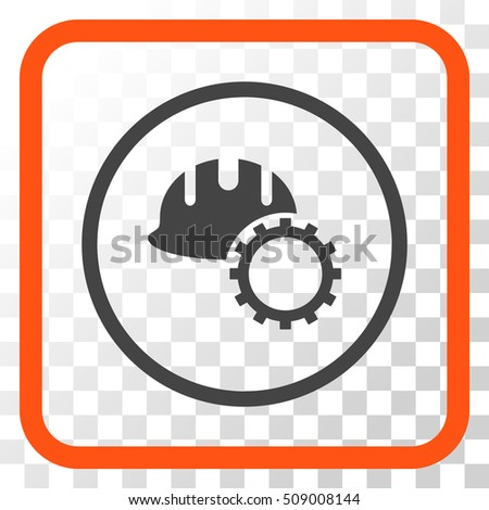 Development Hardhat orange and gray vector icon. Image style is a flat pictograph symbol in a rounded square frame on a transparent background.