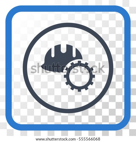 Development Hardhat smooth blue vector icon. Image style is a flat pictogram symbol in a rounded square frame on a transparent background.