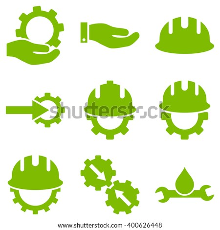 Development vector icon set. Style is eco green flat symbols isolated on a white background. - stock vector