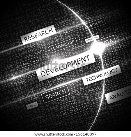 DEVELOPMENT. Word cloud illustration. Tag cloud concept collage. Vector text illustration.