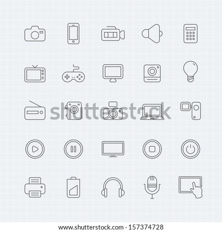 device and multimedia vector thin line symbol icon  - stock vector