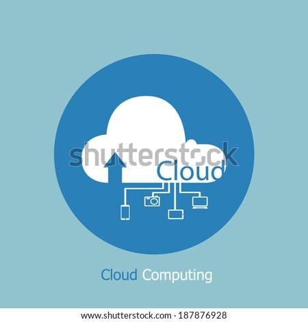 device cloud computing concept  vector art - stock vector