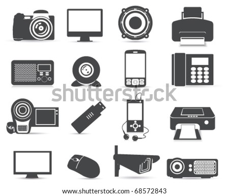 Device icons. Black&white - stock vector