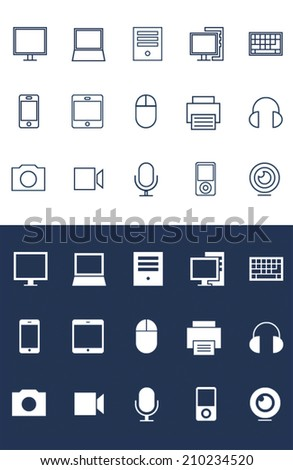 Device Icons set for toolbar in flat and line style
