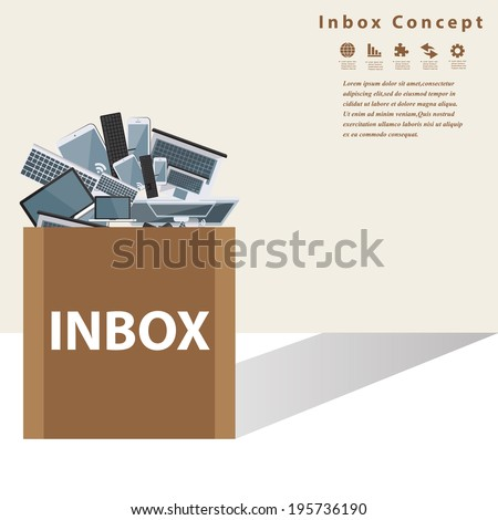 Device in the box with inbox Concept.Vector design.
