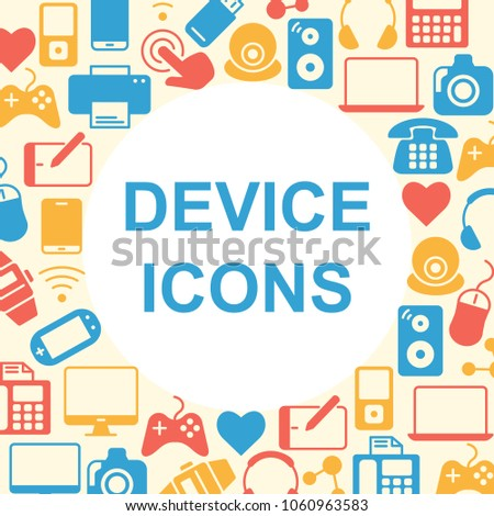 Device Outline Icons Set Electronic Symbols Stock Vector 1060963583