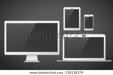 device set that includes TV, tablet, smart phone and laptop over black background - stock vector