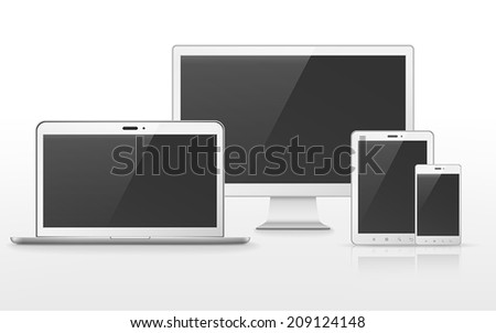device set that includes TV, tablet, smart phone and laptop over white background - stock vector