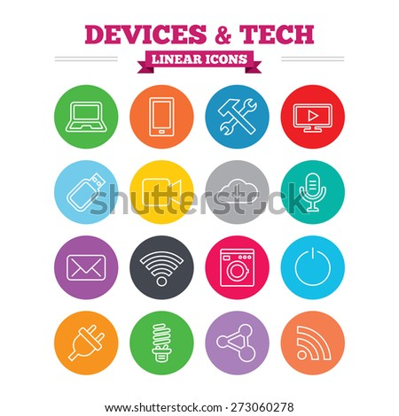 Devices and technologies linear icons. Notebook, smartphone and wi-fi symbols. Usb flash, video camera, microphone thin outline signs. Washing machine, fluorescent lamp and electric plug. Flat circles