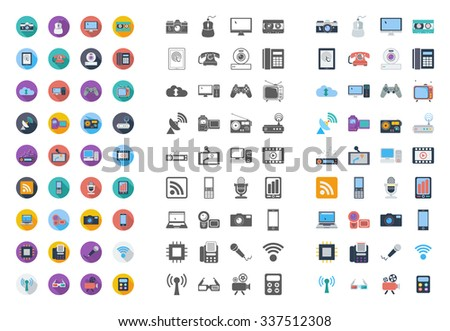 Devices icons set. Flat vector related different styles icons set for web and mobile applications. It can be used as - logo, pictogram, icon, infographic element. Vector Illustration. - stock vector