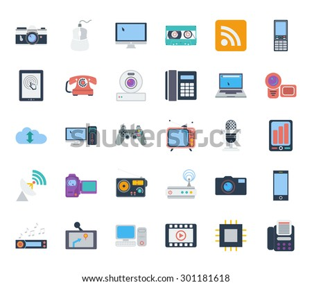 Devices icons set. Flat vector related icons set for web and mobile applications. It can be used as - logo, pictogram, icon, infographic element. Vector Illustration.  - stock vector