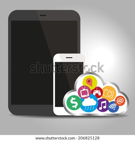 Devices technology with cloud concept - stock vector