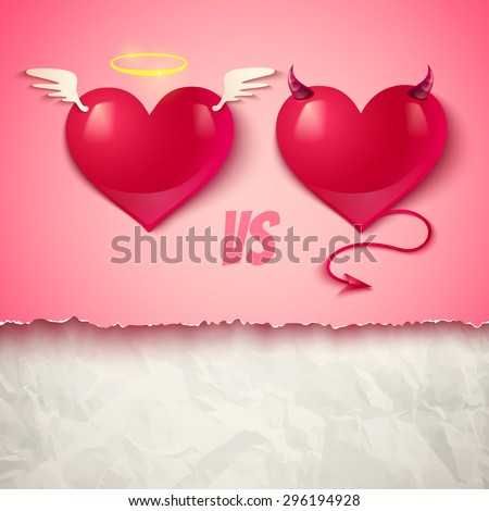 Devil and angel hearts on crumpled paper - stock vector