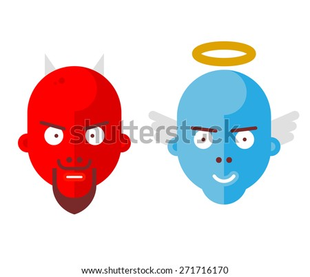 Devil and Angel Vector Icons - stock vector