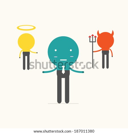 devil and angel,vector,illustration. - stock vector