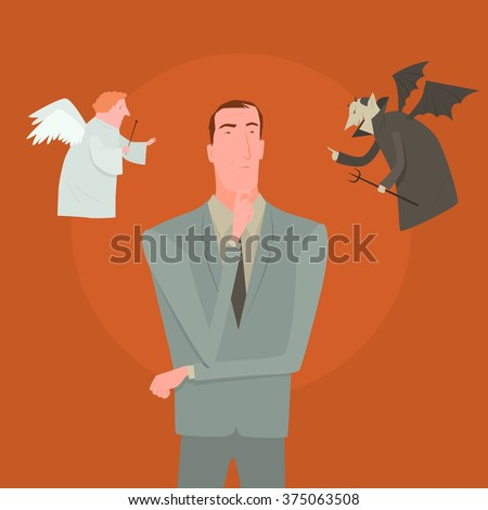 Devil and white angel pointing to different direction leaving cartoon man confused. Creative vector illustration for difficult decision concept isolated on orange background. - stock vector