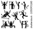 Devil Angel Friend Enemy Icon Symbol Sign Pictogram - stock photo