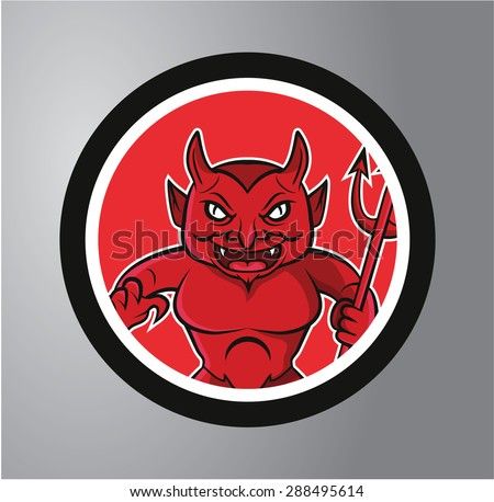 devil circle sticker - stock vector