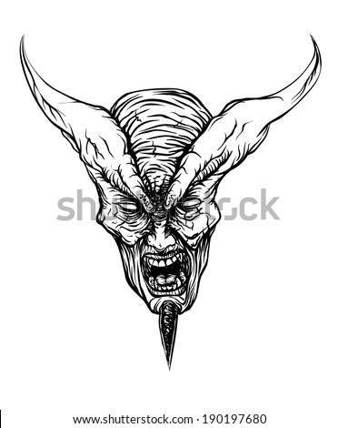 Devil Head - stock vector