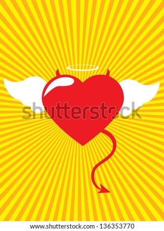 Devil heart danger Love - stock vector