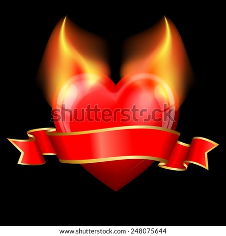 devil heart with ribbon for valentines day - stock vector