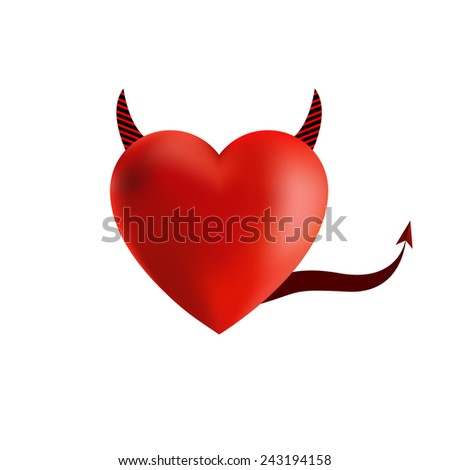 Devil Horns with red heart, vector illustration