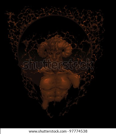 Devil in the shadow. Vector illustration.  First layer: Character + Flames grouped together. Second layer: Black background. - stock vector