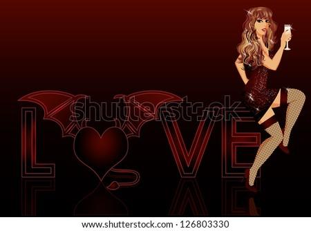 Devil love girl, vector illustration - stock vector