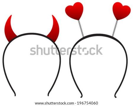 devil & love headbands - stock vector
