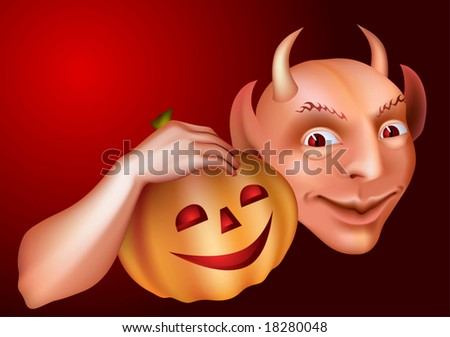 Devil smiling with pumpkin in hand