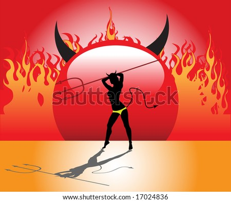 Devil woman shape holding a trident and standing in front of fire flames