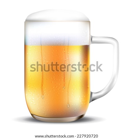 Dewy glass of beer on white background - vector illustration - stock vector