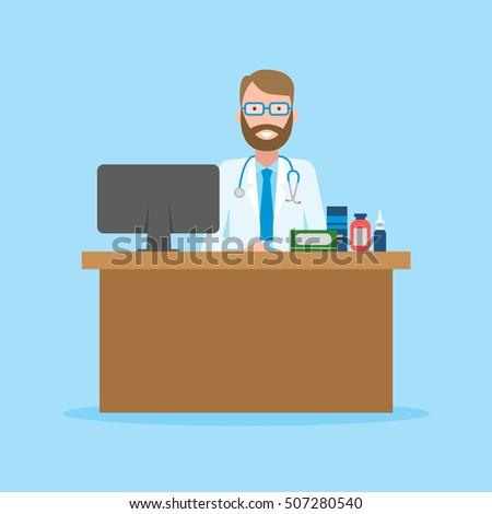 DFunny smiling male doctor sitting in the medical cabinet. Medical treatment, first aid.