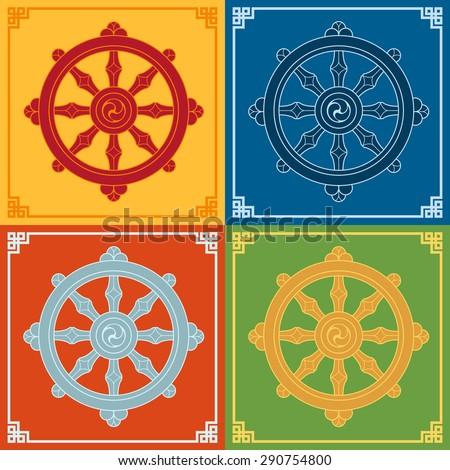 Dharma Wheel Dharmachakra Icons. Buddhism symbols. - stock vector