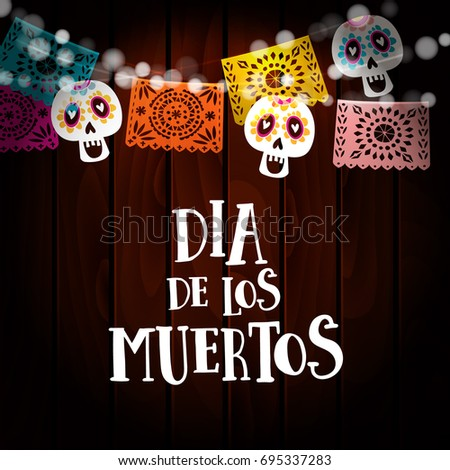 dia de los muertos day of the dead or halloween card invitation with string - Halloween Dia