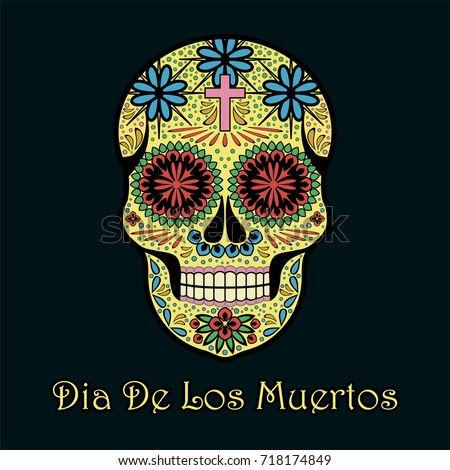 Dia de los muertos greeting card stock vector 718174849 shutterstock dia de los muertos greeting card invitation mexican day of the dead handmade m4hsunfo