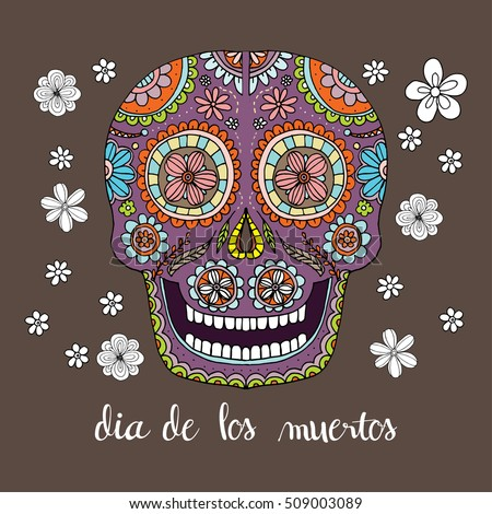 Dia de los muertos greeting card stock vector royalty free dia de los muertos greeting card invitation mexican day of the dead skull m4hsunfo